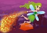 Zaczarowana wróżka sypie magiczne kwiaty. Magiczny ogród, Wróżka zębuszka, Bajkowy Elf leci  przez las