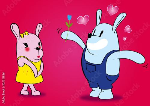 Zakochany króliczek wyznaje uczucie swojej narzeczonej, walentynkowa scenka, zakochane króliczki, zaloty zajączka, onieśmielona dziewczyna i jej adorator