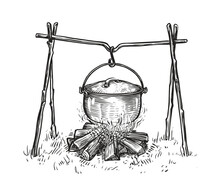 Pot On Campfire Sketch. Cooking In A Cauldron On Flame. Hand Drawn Vector Illustration