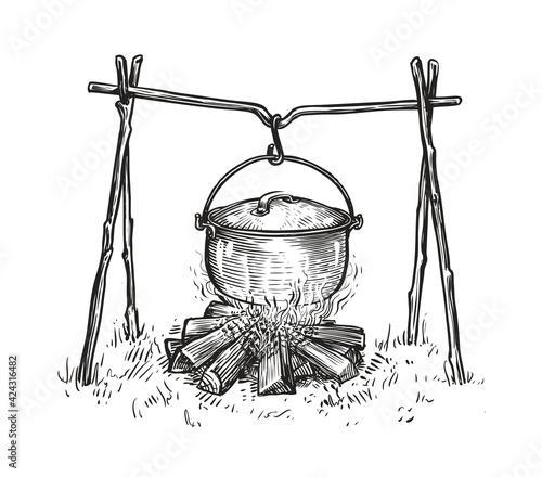 Photo Pot on campfire sketch