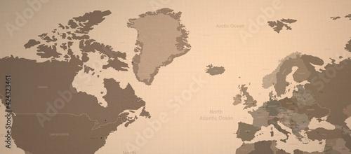 Foto Arctic ocean-North Atlantic ocean and neighboring countries map