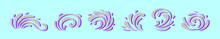Set Of Swirly Ornament Cartoon Icon Design Template With Various Models. Vector Illustration Isolated On Blue Background