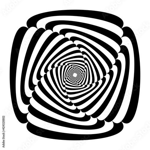 Opart, optical art geometric illustration with rotation distort, deform effect Wall mural