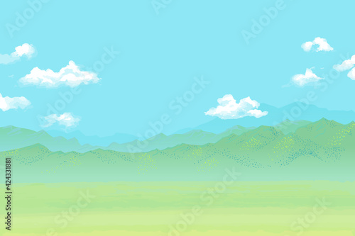 Fototapeta 爽やかな草原と空と高山の風景ベクターイラスト obraz