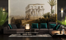 Modern Design For The Living Room And Granite Paper Decoration For A Landscape Of 1800 Egypt Of A Pharaonic Temple And The Blue Nile, Sofas With Lighting And Table