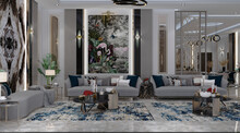 Modern Interior Design For A Reception Hall In A Modern Style, With Walls Of Mirror And Marble With Table Lighting Decorative Tropical Forest Plant And A Luxurious