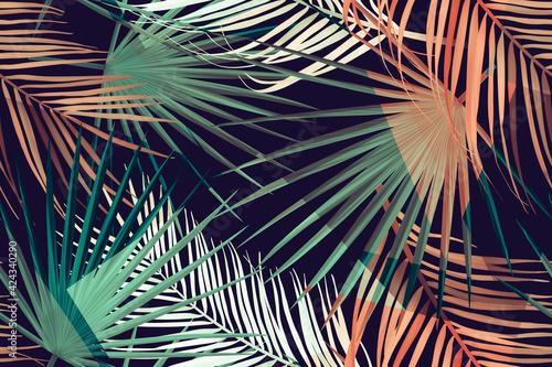 Obraz na plátně Seamless tropical palm leaves pattern