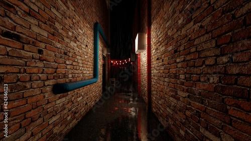 dark brick alleyway rain aesthetic Fototapet