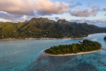 Aerial View Of The Sunrise Over The Stunning Muri Lagoon And Beach In Rarotonga Island In The Cook Islands, South Pacific