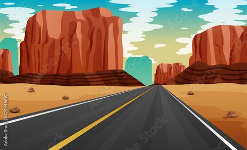 Cuadros en Lienzo A road at desert illustration