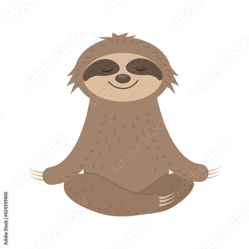Fototapeta premium Cute Sloth Character does yoga, Meditates, vector isolated