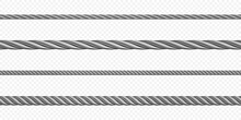 Metal Hawser, Rope, Steel Cord Of Different Sizes, Silver Colored Twisted Cables Or Strings. Decorative Sewing Items Or Industrial Objects Isolated On Transparent Background Realistic 3d Vector Set