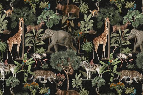 Fototapeta premium Jungle pattern background wild animals