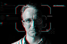 Man Wearing Smart Glasses Behind The Virtual Scanning Technology In Glitch Effect