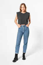 Black Cropped Tank Top And Jeans Women's Apparel
