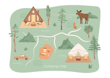 Camping Map. Triangle Wooden House, Tent With Terrace, Lounge Chairs Near Street Fireplace. Camping Elements, Weekend In Forest, Nature. Wild Animals Park, Textured Hills, Trees. Outdoor Recreation