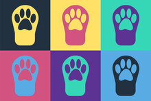 Pop Art Paw Print Icon Isolated On Color Background. Dog Or Cat Paw Print. Animal Track. Vector
