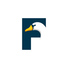 Letter F Goose Logo Design Template Inspiration, Swan Vector, Initial Logo.