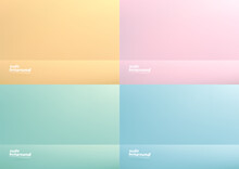 Set Of Studio Room Pastel Color Background Used For Display Your Products. Yellow, Pink, Green, Blue Background.