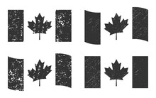 Canada Grunge Flag Set, Dark Gray Isolated On White Background, Vector Illustration For Your Web Site Design, App, UI. EPS10.