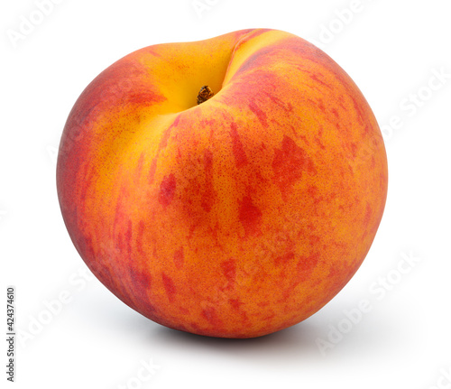 Peach isolated. Peach on white background with clipping path. Full depth of field. - fototapety na wymiar
