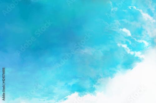 ブルーの夏の空をイメージした風景イラスト