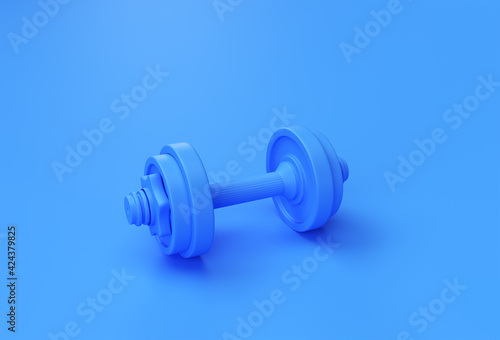 Obraz 3d Render Dumbbells Set, Realistic Detailed Close Up View Isolated Sport Element of Fitness Dumbbell Design. - fototapety do salonu