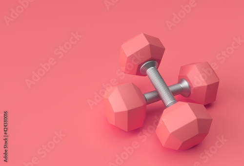 Fototapeta premium 3d Render Dumbbells Set, Realistic Detailed Close Up View Isolated Sport Element of Fitness Dumbbell Design.