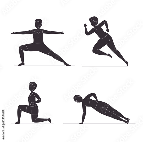 four fitness silhouettes Fotobehang