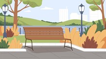 Landscape Of Empty Urban Public Park With Wooden Bench, Lantern, Trees, Bushes And Water On Background Of City Buildings. Colored Flat Vector Illustration Of Scenery Autumn Parkland