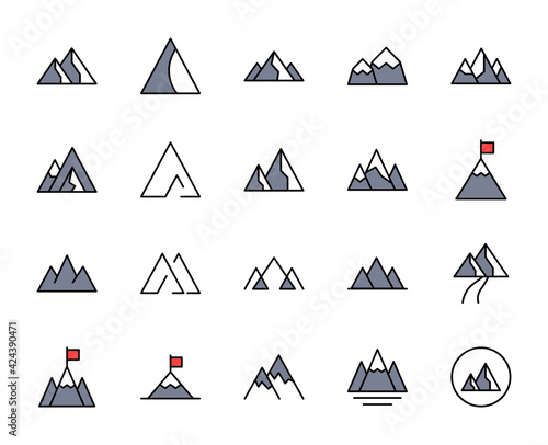 Mountain line icon set. Collection of vector symbol in trendy flat style on white background. Nature sings for design. Wall mural