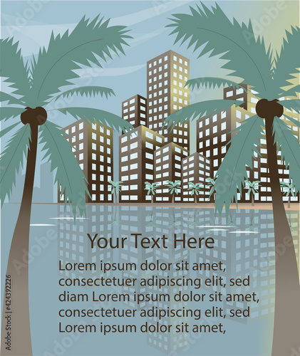 Summer beach concept downtown city with skyscrapers and palm trees banner or poster template. Wall mural