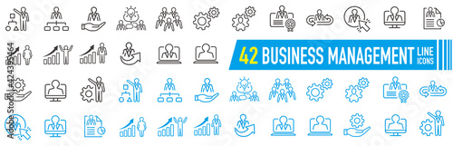 Fototapeta Management line icons. Business people, Algorithm and Group. Startup strategy linear icon set. Vector obraz