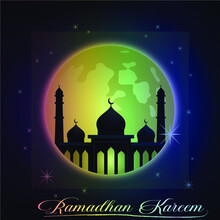 """""""Ramadan Kareem"""" Theme With Colorful Mosque And Moon Decorations. Background Vector Design Illustration"""