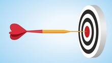 Strategies To Reach Goal. Dart Arrow In Bulls Eye. Copy Space For Your Text.  Dimension 16:9. Vector Illustration. EPS10.