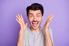 Photo Of Happy Excited Cheerful Crazy Smiling Man Screaming See Huge Sale Discount Isolated On Violet Color Background