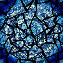Vector Seamless Mosaic Art Pattern. Art Background.