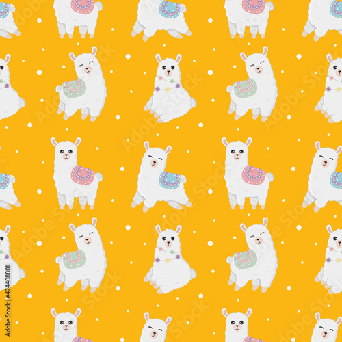 Fototapeta premium Seamless pattern with llama (alpaca) made in vector. Good for wallpaper, greeting cards, children room decoration, etc.
