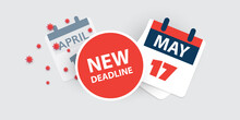Tax Day Reminder Concept - Calendar Design Template - USA Tax Deadline, New Extended Date For IRS Federal Income Tax Returns: 17 May 2021