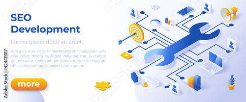 SEO DEVELOPMENT - Isometric Design in Trendy Colors Isometrical Icons on Blue Background. Banner Layout Template for Website Development - fototapety na wymiar