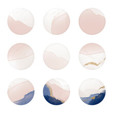 Instagram Social Media Highlight Icons Or Web Buttons. Abstract Minimal Nude Pink Rose Blush Navy Color Minimal Circle Round Dot Shapes In Watercolor Stain Stamp Gold Pattern Texture. For Beauty
