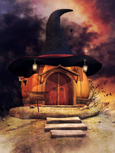 Fantasy Pumpkin House With Lanterns, A Witch's Hat Instead Of Roof, Spider Web And Birds In The Distance. 3D Render.