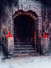 Entrance Way To A Castle Dungeon With Skull Ornaments And Red Candles. 3D Render.