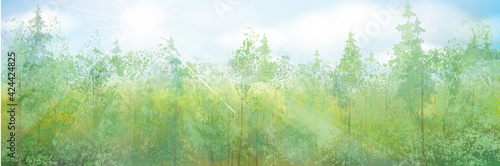 Vector green forest in sunshine. Summer nature forest background.