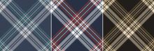 Tartan Plaid Pattern Set In Black, Gold Brown, Beige, Navy Blue, Red, White, Teal Green, Grey. Seamless Dark Checks For Flannel Shirt Or Other Modern Spring Autumn Winter Fashion Fabric Print.