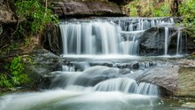 Time Lapse - Beautiful Small Waterfalls And Plants Effect Zoom