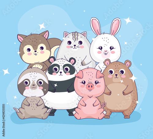 Fototapeta premium seven cute animals