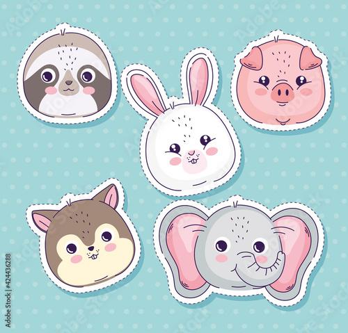 Fototapeta premium five animals heads