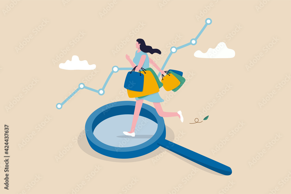 Fototapeta Customer insight, information from analyze consumer behaviors or journey, optimizing customer experience concept, happy woman consumer holding full of shopping bags on analysis magnifying glass.