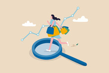 Customer Insight, Information From Analyze Consumer Behaviors Or Journey, Optimizing Customer Experience Concept, Happy Woman Consumer Holding Full Of Shopping Bags On Analysis Magnifying Glass.